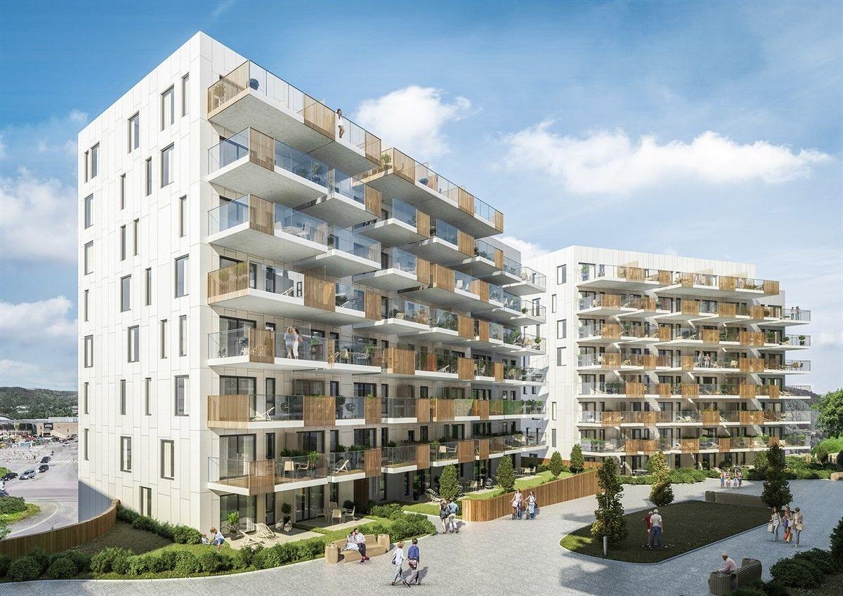 Hvite bygninger med balkonger
