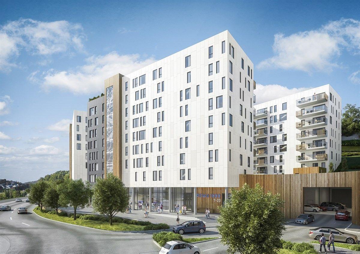 moderne hvitt leilighetsbygg