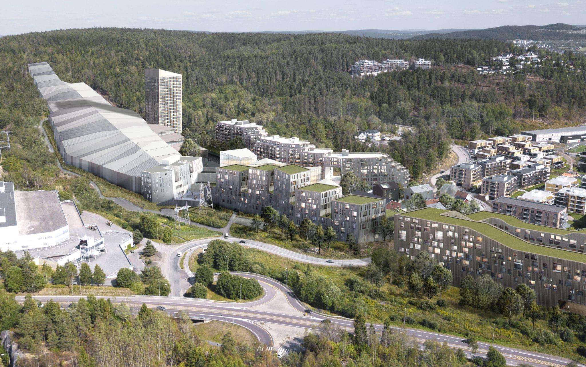 Oversikt bolig, skihall og hotell